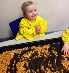 Sensory play with baked beans