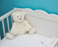 Baby's cot with teddy