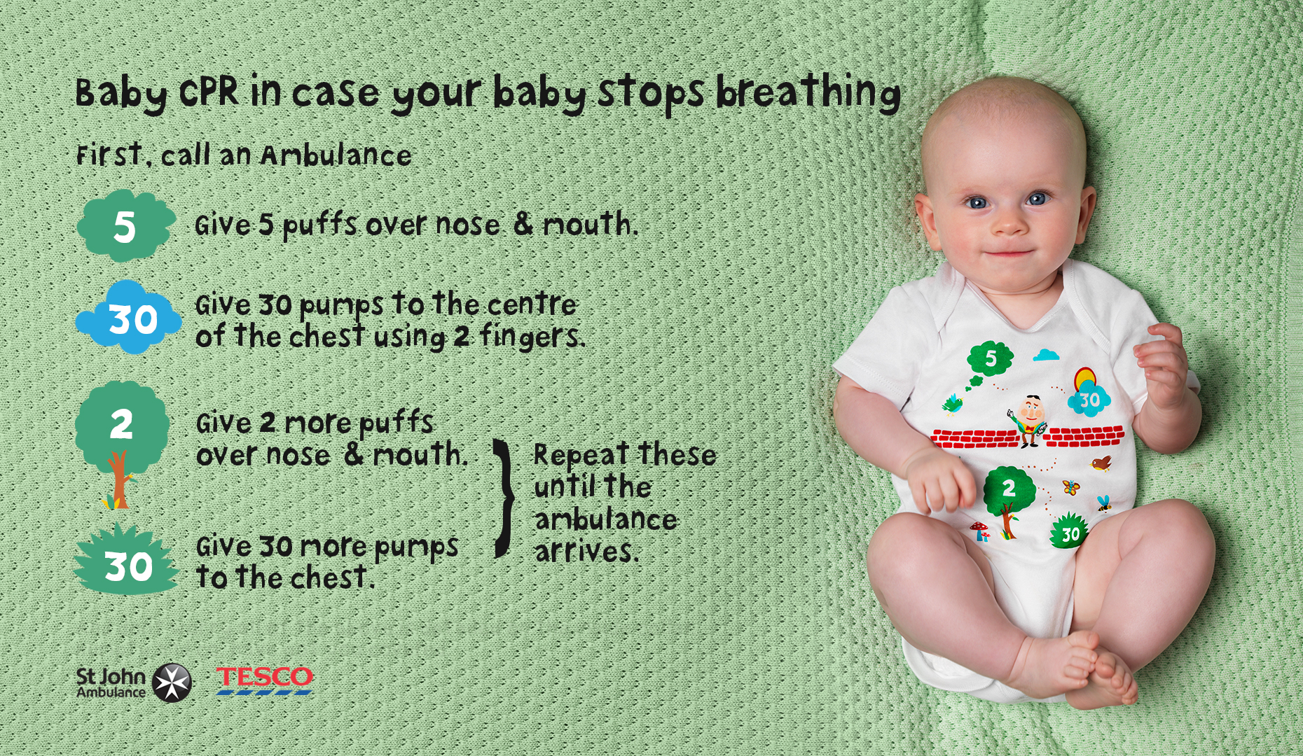 How to do baby CPR - new CPR babygrow campaign from St John Ambulance and Tesco