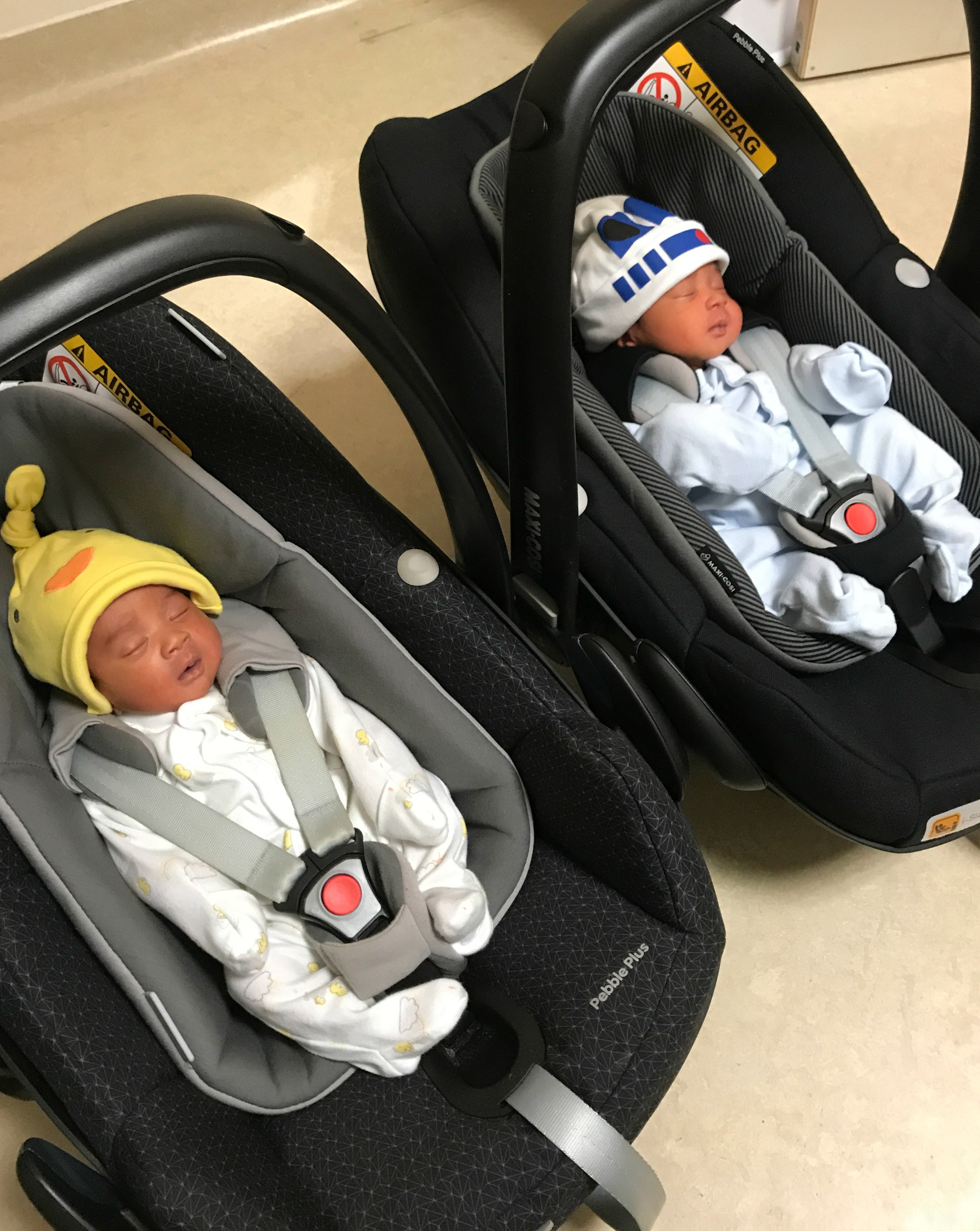 Twins in Maxi Cosi car seats - new baby twin essentials