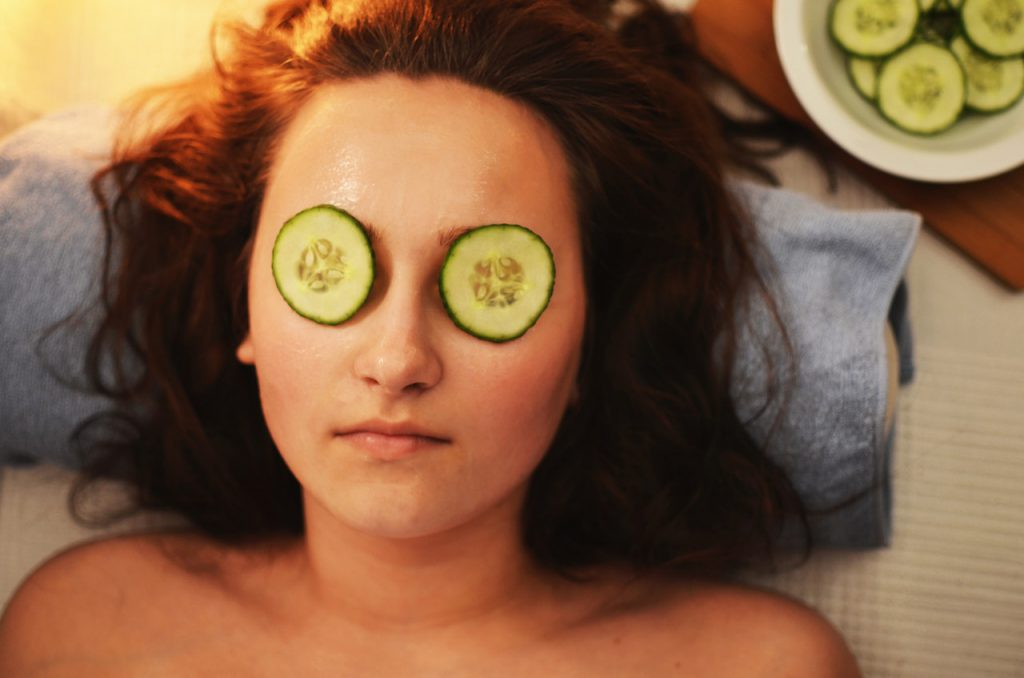 Face masks and cucumber slices at the ready